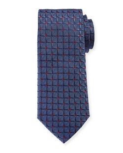 Armani Collezioni - Large Dotted Grid Box-Pattern Tie