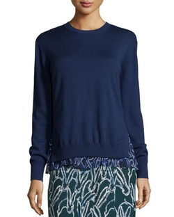 Grey Jason Wu  - Bunny-Print Chiffon Trim Merino Sweater