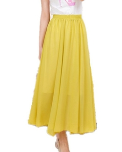 Mullsan  - Chiffon Pleat Maxi Long Skirt Dress