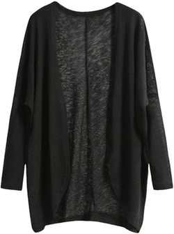 Romwe - Long Sleeve Loose Knit Cardigan