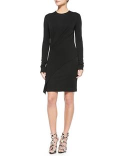 DKNY - Long-Sleeve Asymmetric Jersey Dress