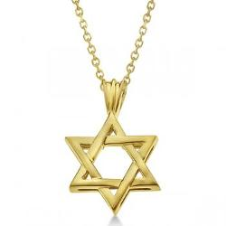 Allurez - Classic Jewish Star of David Pendant Necklace Solid