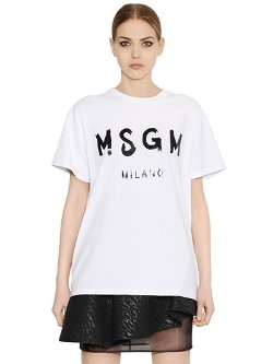 MSGM  - Oversized Printed Cotton T-Shirt