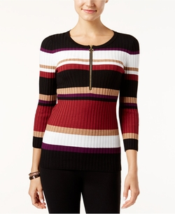 INC International Concepts  - Zip-Front Striped Sweater