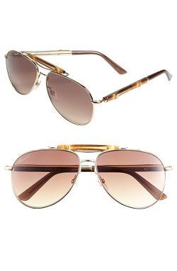 Gucci  - 58mm Retro Aviator Sunglasses