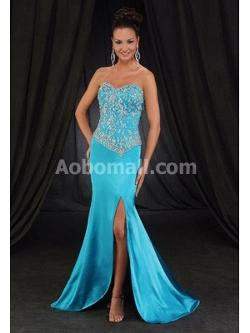 Aobomall - Stretch Satin Trumpet / Mermaid Sweetheart Court Train Prom Dresses