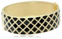 Freida Rothman  - Lattice Black Enamel Hinge Bangle Bracelet