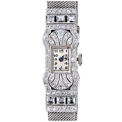 Gubelin - Platinum and Diamond Art Deco Mesh Band Watch