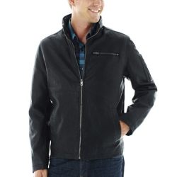 Claiborne - Faux-Leather Racer Jacket