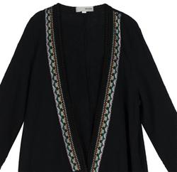 Outline - Original Bohemian Print Long Sleeve Long Linen Cardigan Shirt