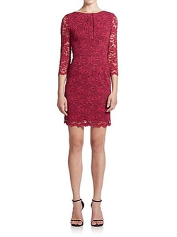 ABS  - Scalloped-Hem Lace Dress