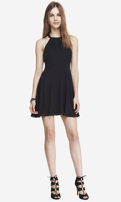 Express - Fit and Flare Halter Dress