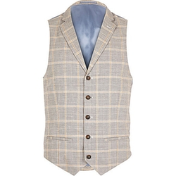 Rriver Island - Check Linen-Blend Smart Vest
