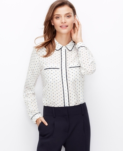 Ann Taylor - Dashed Dot Silk Blouse