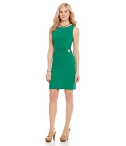MICHAEL Michael Kors  - Side Draped Pleated Sheath Dress