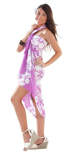 1 World Sarongs  - Womens Triple Lei Swimsuit Cover-Up Sarong
