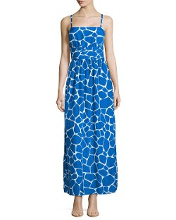 Susana Monaco - Giraffe-Print pleated Maxi Dress, Sapphire