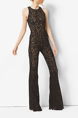 Michael Kors Collection   - Floral Lace Flared Jumpsuit