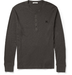 Burberry Brit   - Slim-Fit Ribbed Cotton and Wool-Blen Henley T-Shirt