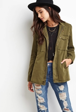 Forever21 - Buttoned Zip-Front Utility Jacket