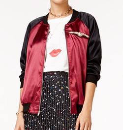 In Awe Of You By AwesomenessTV - Satin Colorblocked Bomber Jacket
