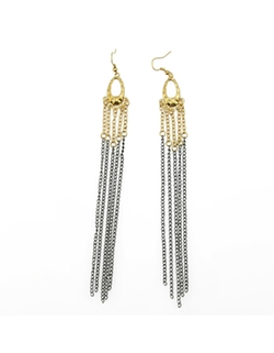 Romwe - Multicolors Alloy Tassel Drop Long Earrings