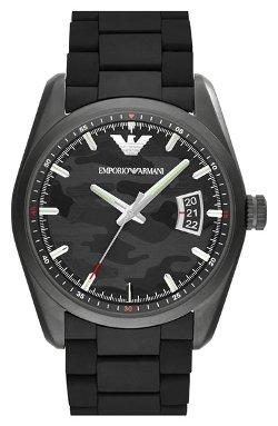 Emporio Armani  - Camo Pattern Dial Rubber Strap Watch