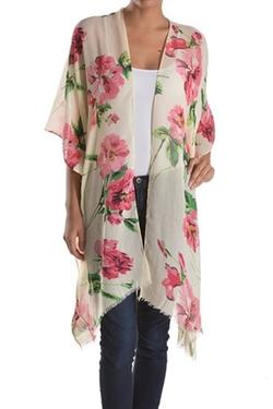 Basico - Light Floral Print Sheer Gauzy Kimono Cardigan
