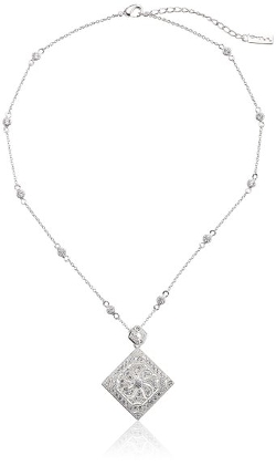 Nina - Square Locket on Cubic Zirconia Station Chain Pendant Necklace
