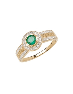 Lord & Taylor  - Yellow Gold Emerald And Diamond Ring