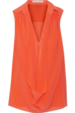 Alice + Olivia - Kiersten Draped Stretch-Silk Top