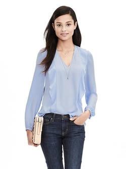 Banana Republic - Crepe Flounce Blouse