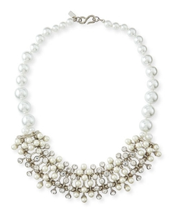 Kenneth Jay Lane   - Pearly Crystal Cluster Necklace