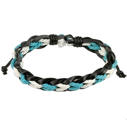 Inspirelista - Leather Blue/White Braided Strings Bracelet