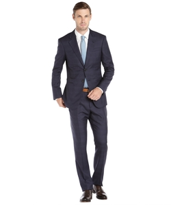 Giorgio Armani - Navy Glen Plaid Wool And Silk Two Button Suit