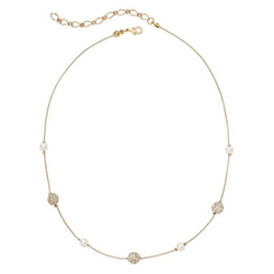 Vieste - Simulated Pearl and Fireball Gold-Tone Illusion Necklace