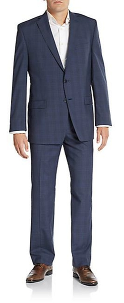 Calvin Klein -  Slim-Fit Plaid Wool Suit
