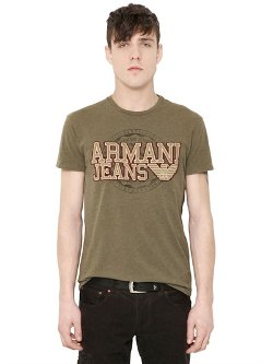Armani Jeans  - Logo Patch Cotton T-Shirt