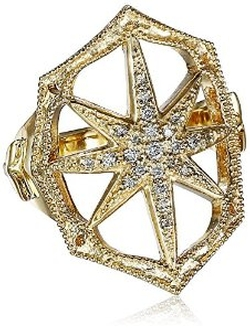Mizuki  - Gold and Diamond Outlined Web Starburst Ring