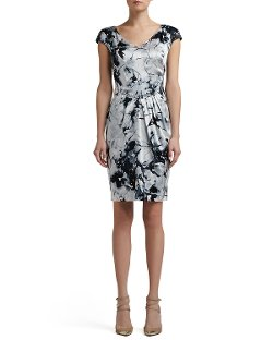 St. John Collection - Floral Silhouette Cap Sleeve Dress