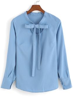 Romwe - Self-tie Bow Sky Blue Blouse