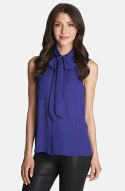 1.State - Tie Neck Sleeveless Blouse