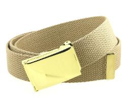 BC Belts  - Canvas Web Belt Flip-Top Brass Plate Buckle