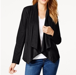 Style&Co. - Faux-Suede Draped Jacket
