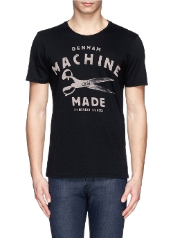 Denham - Machine Scissor Print Cotton T-shirt