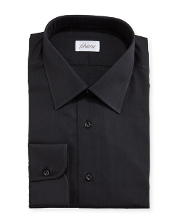 Brioni - Solid Textured Grid-Check Shirt