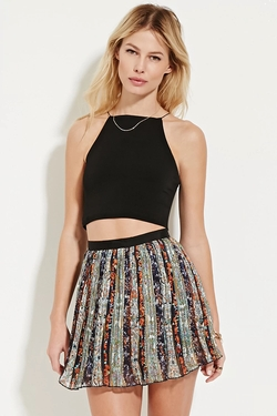 Forever21 - Ornate Print Pleated Skirt