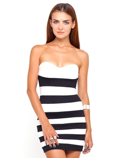 Motel Elinor - Black And White Stripe Bodycon Strapless Dress