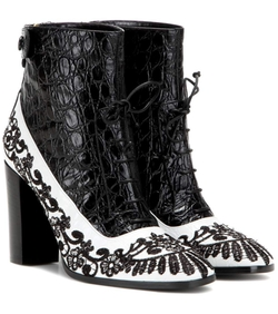 Erdem  - Embroidered Embossed Leather Ankle Boots