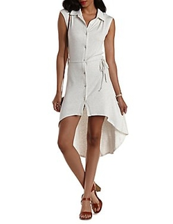 Charlotte Russe - Ribbed High-Low Shirt Dress